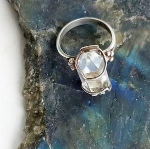 CRYSTAL 925 Sterling Silver Artisan Statement Ring
